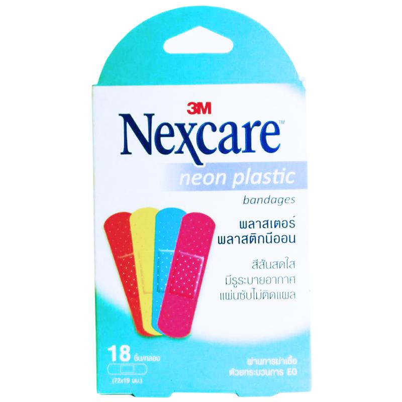 3M Nexcare neon plastic bandage 3เอ็ม เน็กซ์แคร์ พลาสเตอร์พลาสติกนีออน ขนาด 72x19มม. 18 ชิ้น (1 กล่อง)