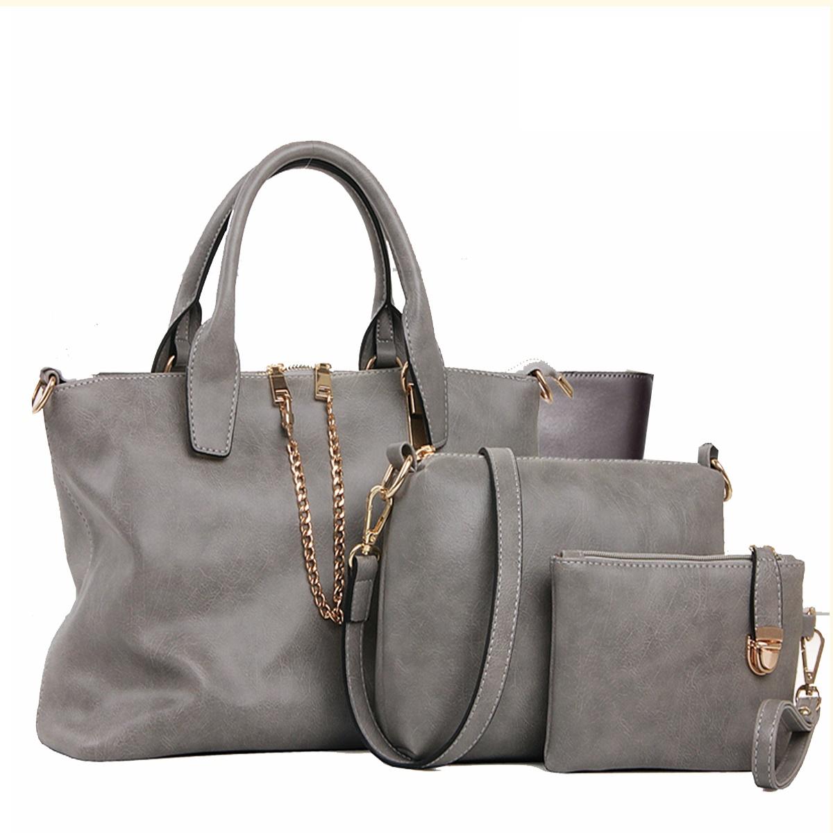 กระเป๋า PU set 3 ใบ (สีเทา)