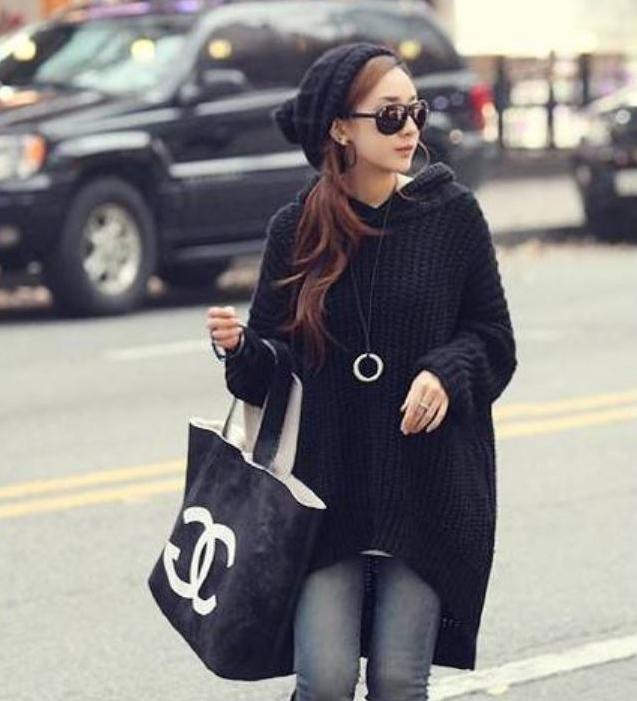 Sweater เสื้อไหมพรมถัก ทรงสวยยืดได้เยอะ เนื้อดี ใส่อุ่น สีดำ