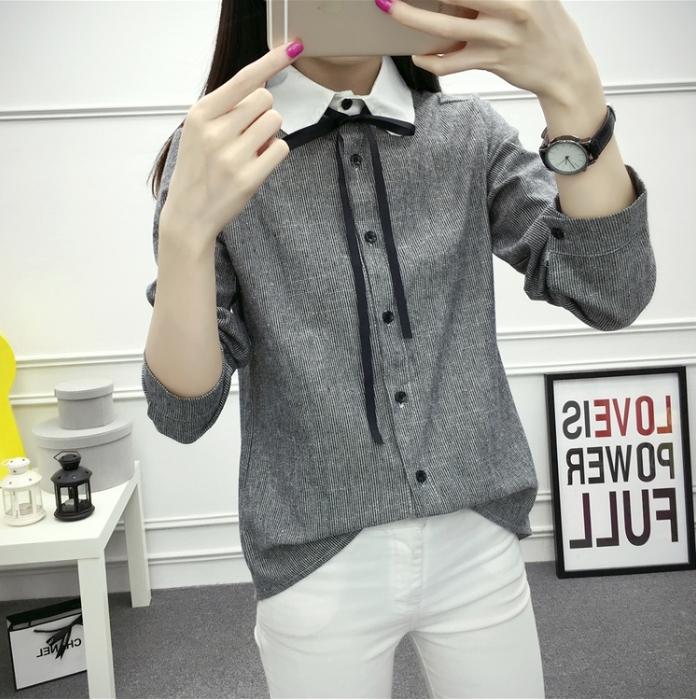 เสื้อเชิ้ตแฟชั่นแขนยาวแต่งปกขาวมีสายผูกโบว์ กระดุมหน้า สีดำ