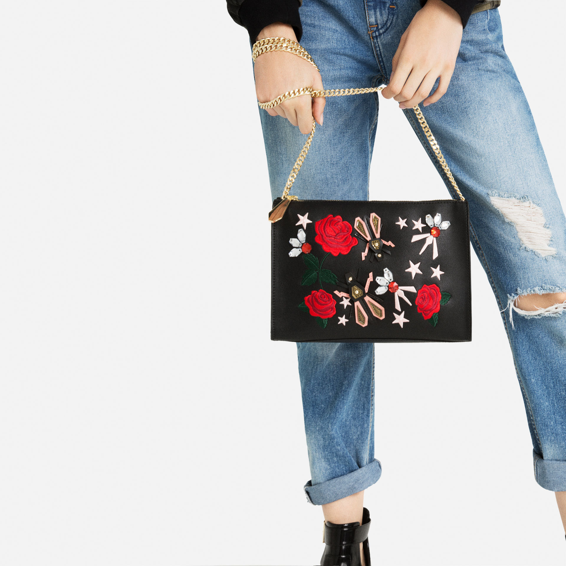 ZARA EMBROIDERED ROSE & JEWEL DETAIL BLACK CLUTCH BAG PURSE WITH CHAIN STRAP