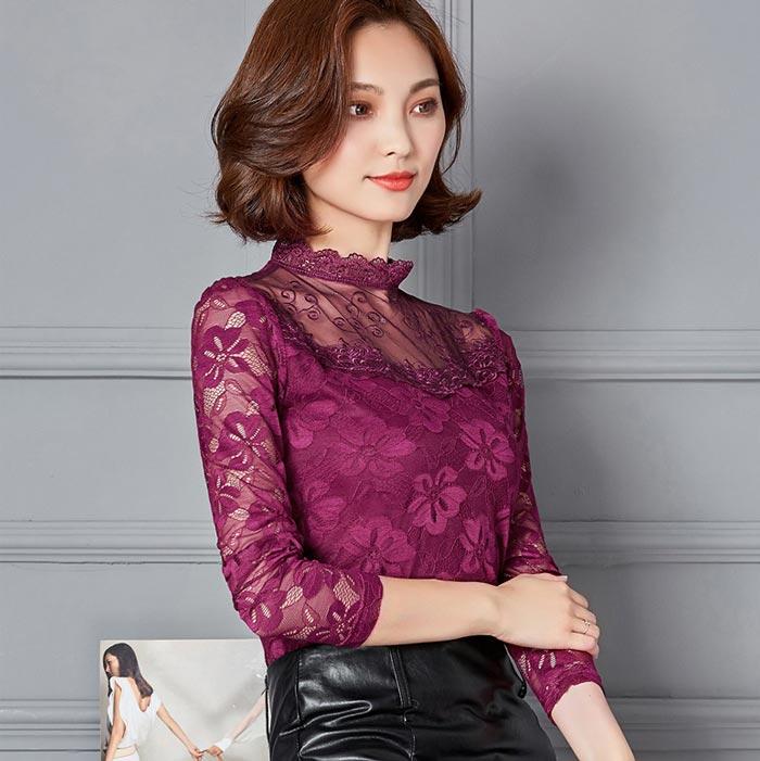 เสื้อลูกไม้สวยๆ แฟชั่นเกาหลี สีม่วง แขนยาว เซ็กซี่ เสื้อลายลูกไม้ใส่ออกงาน
