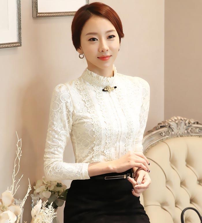 เสื้อลูกไม้สวยๆ แฟชั่นฝรั่งเศสหรู สีขาว แขนยาว เสื้อลายลูกไม้ใส่ออกงาน