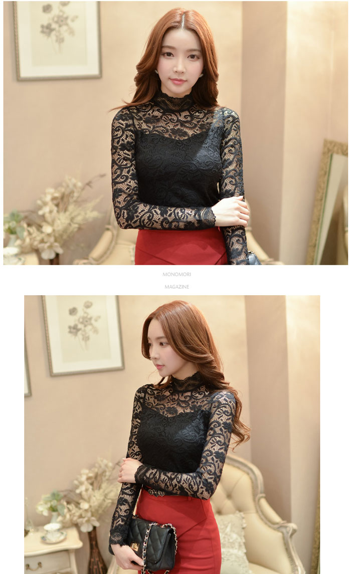 เสื้อลูกไม้สวยๆ แฟชั่นเกาหลี มีสีขาว สีดำ ชุดผ้าลายลูกไม้ ใส่ออกงาน แขนยาว คอปิดฉลุลูกไม้ มีซับใน แอบเซ็กซี่ ตัวยอดนิยมเลยค่ะ แมทซ์ชุดออกงานได้หลายโอกาส