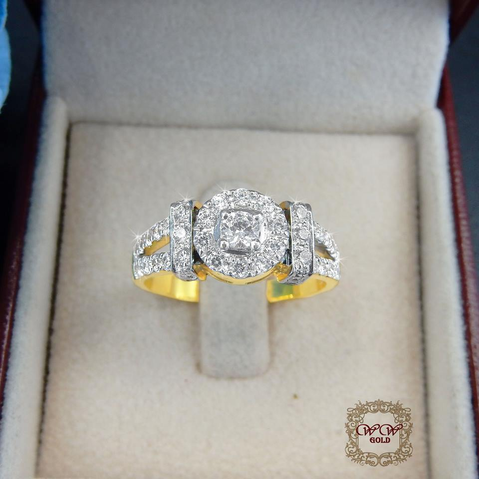 แหวนดีไซน์เพชรประกบ เรียงสวยระยิบ (Big)