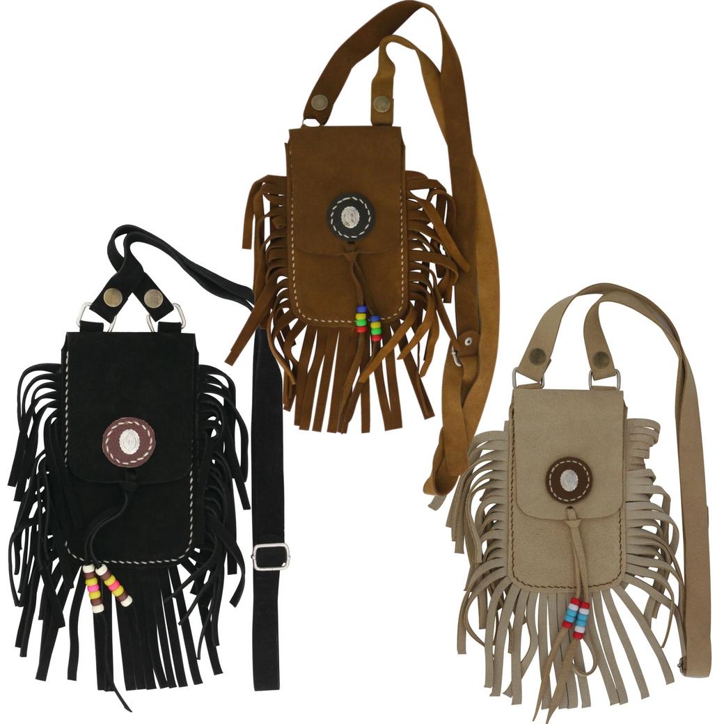กระเป๋าหนังสะพายไหล่ หนังแท้ ขนาดเล็ก สไตล์ฮิปปี้+วินเทจ สำหรับใส่โทรศัพท์ และอื่นๆ สำหรับผู้หญิง