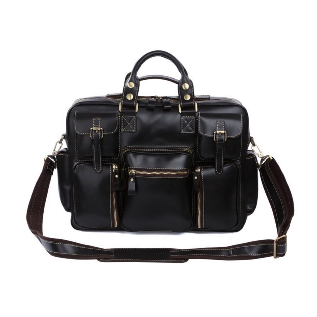กระเป๋าสะพายข้าง กระเป๋าเดินทาง ใส่เอกสาร A4 ใส่โน๊ตบุ๊คขนาด 15 นิ้วได้ ผลิตจากหนังวัวแท้ โทนสีดำ