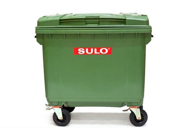 ถังขยะ กทม ขนาด 660 ลิตร ล้อเข็น ฝาเรียบ สีเขียว
