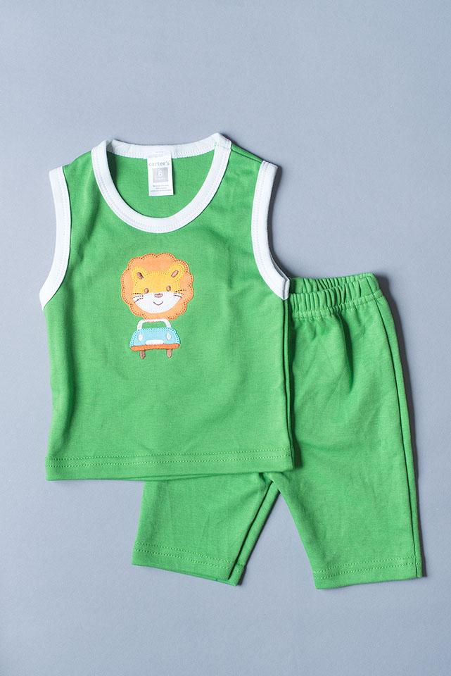 เสื้อแขนกุด กางเกงสามส่วน สีเขียว ลายสิงโต