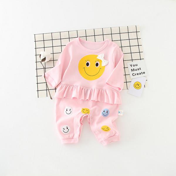 ชุดหมี ขนาด 3-6 เดือน ลายทาง สีชมพู ลายหน้ายิ้ม