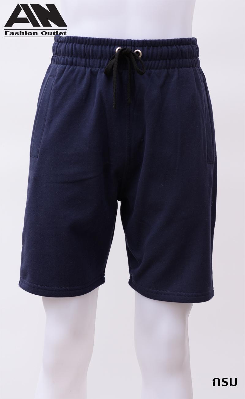 กางเกงกีฬาขาสั้นเอวยืด สีกรม