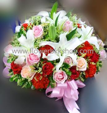 กระเช้าดอกไม้สด รหัส WBA04