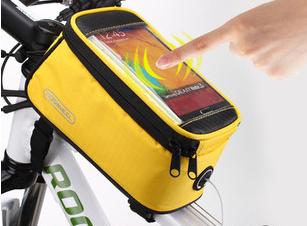 กระเป๋าคาดเฟรม ROSWHEEL ใส่มือถือสัมผัสได้ มีช่องออกหูฟัง BIKE290 สีเหลือง