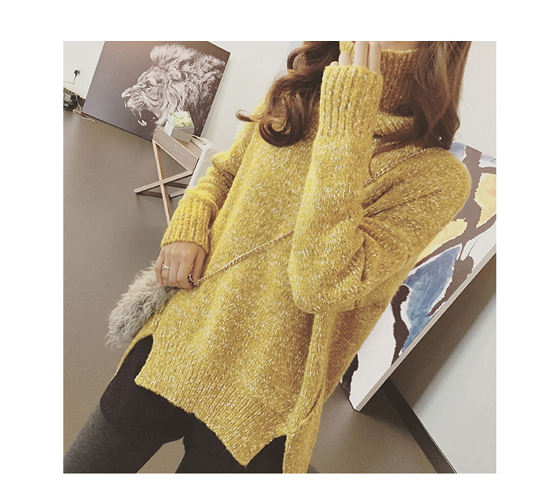 High quality knitted sweater women (สีเหลือง)
