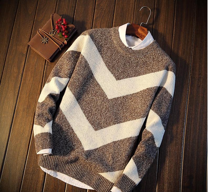 Men's sweater กันหนาวไหมพรม (สีน้ำตาล)
