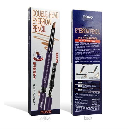 Novo Double-head Eyebrow Pencil ดินสอเขียนคิ้วทรงแท่งหกเหลี่ยม ทรงดาบซามูไร ราคาปลีก บาท ราคาส่ง บาท