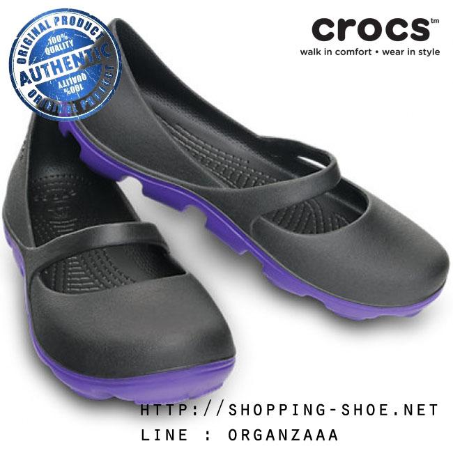 W7 (23.5 cm.) : Crocs Duet Sport Mary Jane - Onyx / Ultraviolet ของแท้ Outlet ไทยและอเมริกา