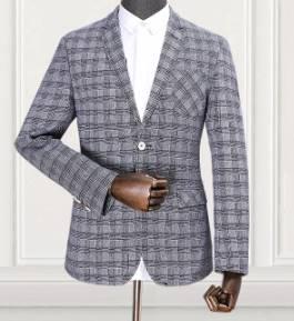 SALE!!เสื้อสูท แฟชั่นชาย สไตล์อังกฤษลายสก็อตปกเปิด สี เทาอ่อน Size No.40 42 44