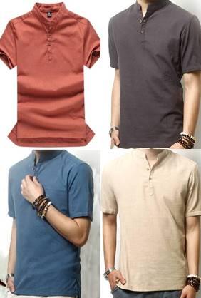 5สีจองราคาพิเศษ!!เสื้อเชิ้ตคอจีนแขนสั้น แฟชั่น กระดุมอก Size No.37 39 41 43 เบจ เทา ส้ม เขียว ฟ้า