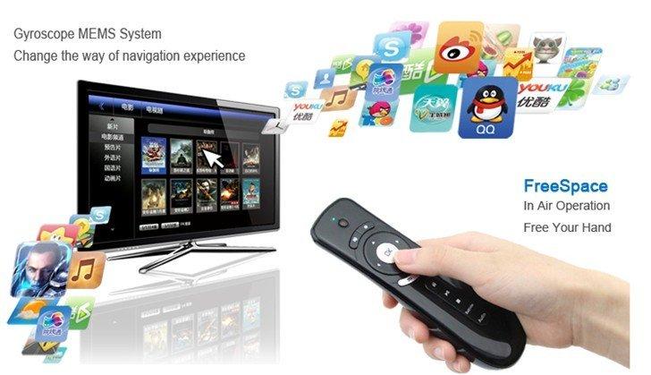 T2 Air Mouse Remote ที่สามารถใช้ร่วมกับเครื่อง android ได้ทุกยี่ห้อ และทุกรุ่น ทั้ง android smart tv box และ stick มีปุ่มควบคุมการใช้งาน ติดตั้งง่ายที่สุด ไม่ต้องลง driver แบบ plug & play แค่เสียบ USB ต่อกับเครื่องก็สามารถใช้งานได้แล้ว เหมาะสำหรับเล่นเกมส