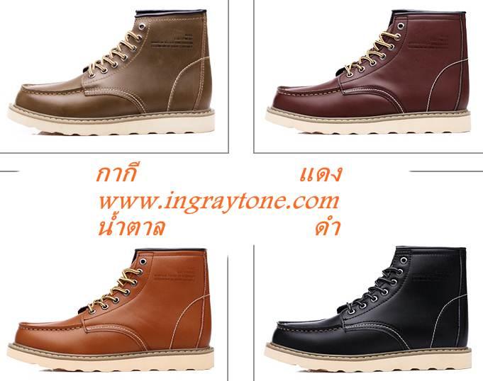 ใหม่เล็ก+ใหญ่พิเศษ!!พรีออเดอร์ รองเท้าหนังบูท รองเท้าหุ้มข้อ เย็บขอบ หนังเงาแท้ สีดำ น้ำตาล แดง กากี เบอร์ 36-44