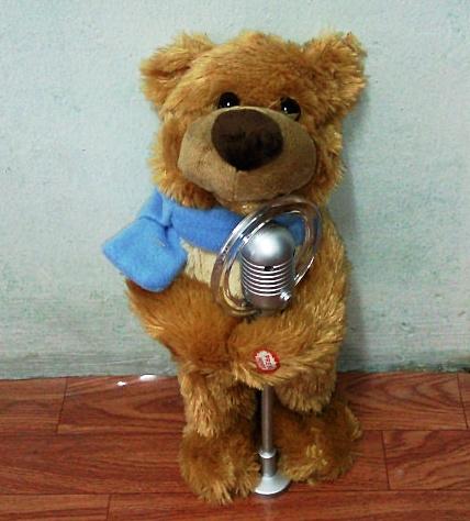 ตุ๊กตาหมีถือไมค์ มีเสียงเพลง เต้นได้ ปากขยับได้ (มาใหม่ล่าสุด)
