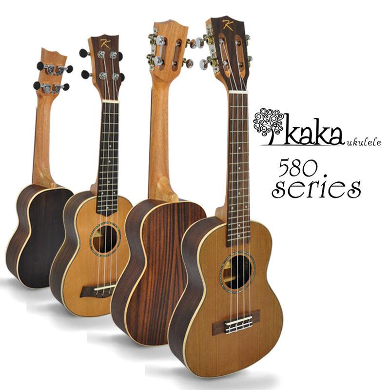"""อูคูเลเล่ Ukulele Kaka รุ่น KUC-580 (260) Concert 23"""" Top Solid Cedar Body Mahogany สาย Aquila ฟรีกระเป๋า"""