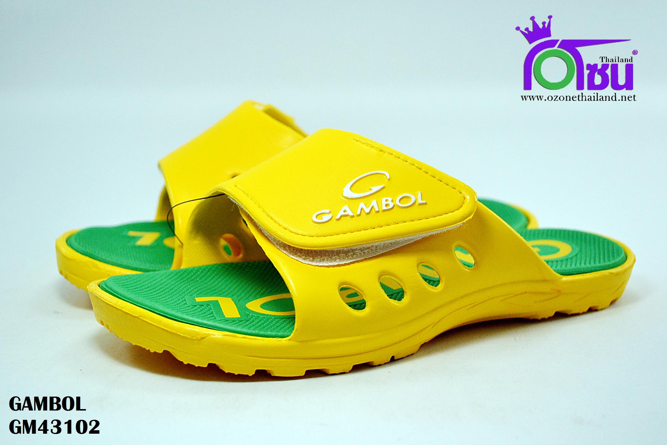 รองเท้าแตะ GAMBOL แกมโบล รุ่น GM 43102 สีเหลือง/เขียว เบอร์ 4-9
