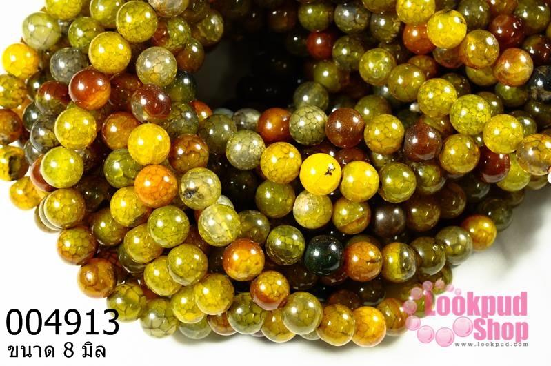 หินเกร็ดมังกร เขียว-ส้ม 8 มิล (จีน) (1เส้น)