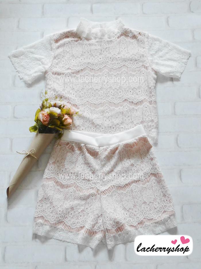 ชุดเสื้อ+กางเกง ผ้าลูกไม้ สีขาว มีซับในอย่างดี คอเต่า สวยหวาน สินค้าคุณภาพ ราคาไม่แพง