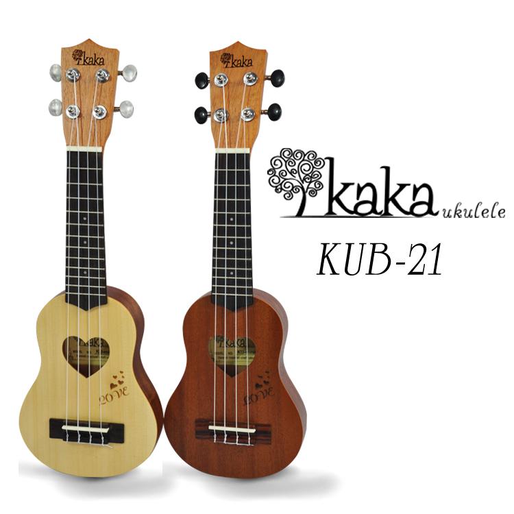 """อูคูเลเล่ Ukulele KAKA รุ่น kub-21 ไม้เซพีลลี ซาวด์โฮลรูปหัวใจ สายอาคริล่า ไซส์พอกเก็ต มินิ 17"""""""
