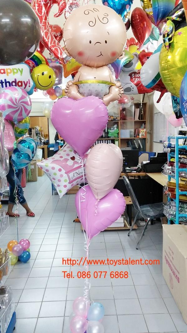 "Set#85 ช่อลูกโป่งฟอลย์เด็กแรกคลอด Baby(1ใบ)+A New Little baby(1ใบ)+Foil balloons 18"" (3ใบ)+ฐานลูกโป่งเล็ก 1 ช่อ"