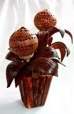 โคมไฟกะลามะพร้าวแบบกระถางต้นไม้ Coconut Shell Lamp