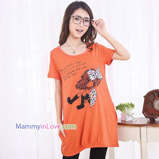 เสื้อคลุมท้องแขนสั้น ลายเด็กติดโบว์ : สีส้ม รหัส SH212