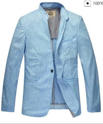 เสื้อสูทผู้ชายญี่ปุ่น คอจีน คอตั้ง แขนยาว กระดุม1 lin Size No.39 41 43 45 47 49 51 ฟ้า