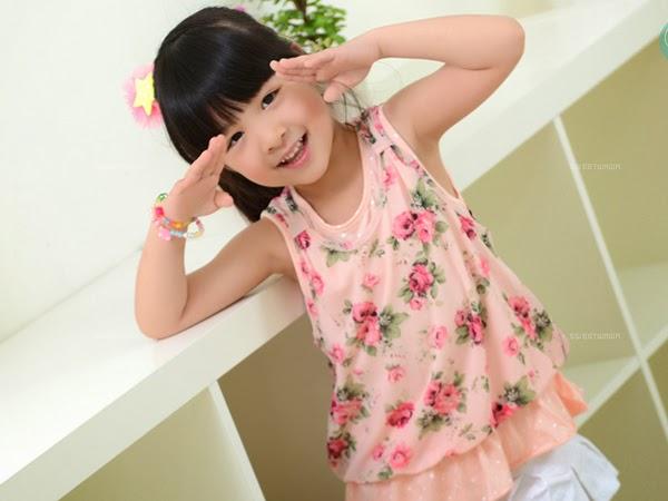 เสื้อเด็กผู้หญิง สีโอรส ลายดอกไม้