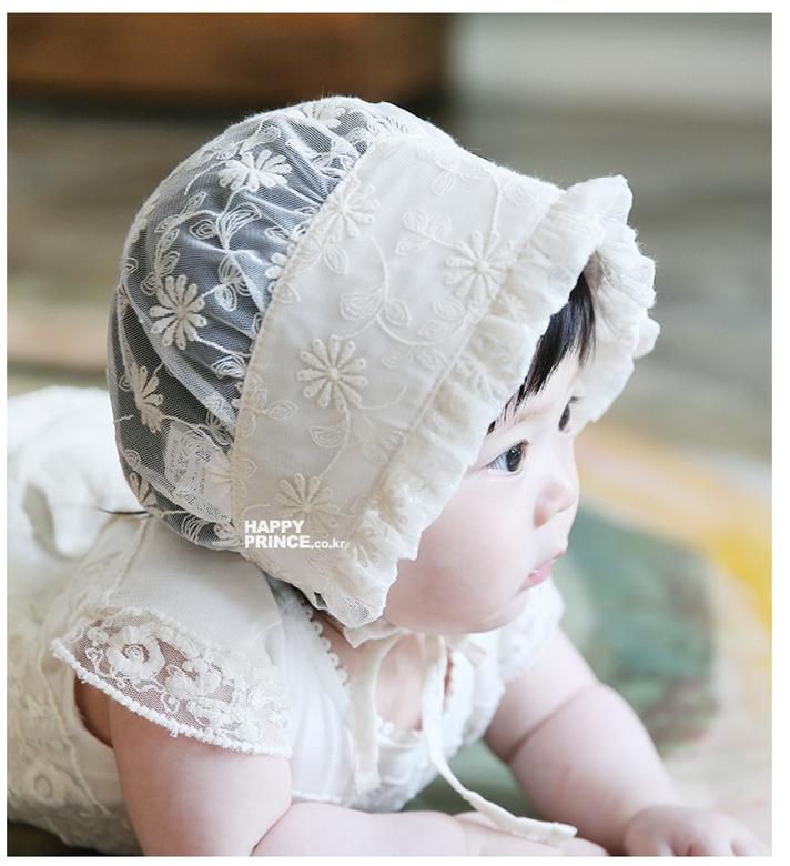 หมวกเด็กน่ารักสีขาวครีม PB54