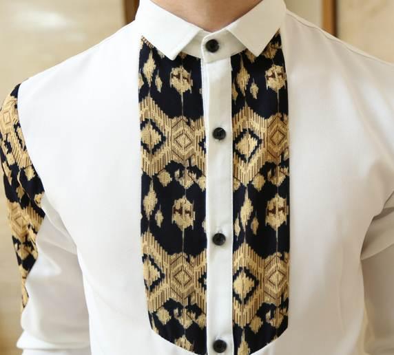 เสื้อเชิ้ตแขนยาว สลิมฟิต ปกเล็ก อกบ่าลายเอเชี่ยนโมทิฟ No.35