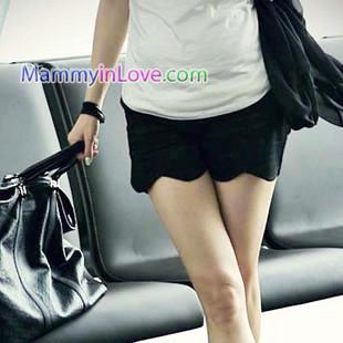 กางเกงคลุมท้องขาสั้นทรงขอบโค้งเว้า สีดำ : Size XL รหัส PN035