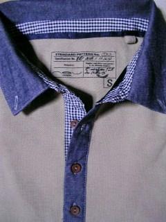 หมดแล้วหมดเลย!! เสื้อโปโล ปีเก้ แขนคอเดนิม แต่งลายสก็อต NL No.39 กากี