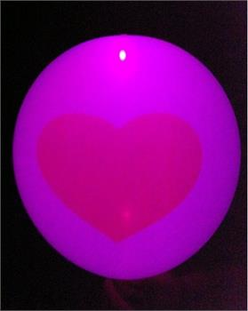 ลูกโป่งสีขาว พิมพ์ลายหัวใจแดง แพ็ค 5 ชิ้น ไฟกระพริบ (Printing Heart latex Balloon - LED RGB Mode)