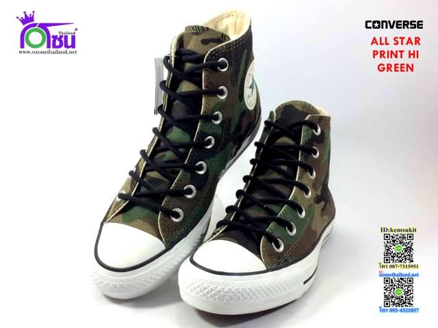 ผ้าใบ Converse All Star Print Hi Green สี เขียว เบอร์4-10