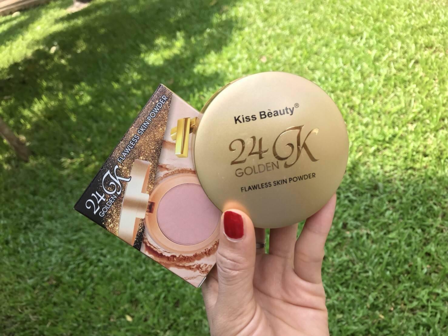 แป้งพัฟทองคำ 24K Kiss Beaty 24K Golden Flawless Skin Powder ราคาปลีก 80 บาท / ราคาส่ง 64 บาท