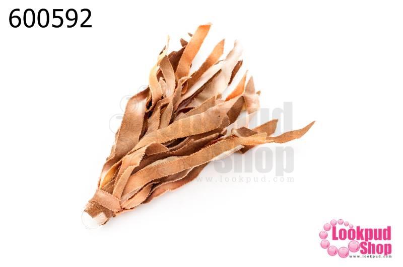 พู่ผ้าลาตินย้อม สีน้ำตาล-ขาว (1ชิ้น)