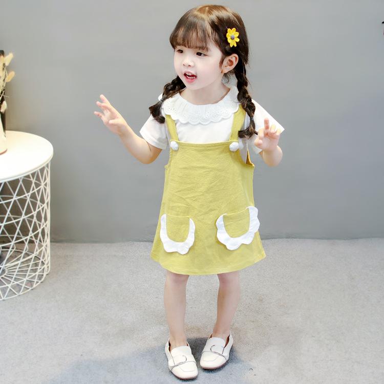 ชุดเซตเสื้อสีขาวแต่งระบายที่คอ+เอี๊ยมกระโปรงสีเหลือง แพ็ค 4 ชุด [size 6m-1y-2y-3y]
