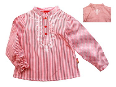 KGB219L Kidsplanet เสื้อเด็กหญิง เชิ้ตแขนยาวคอจีน ลายริ้วสีแดง ปักลายดอกไม้ท่อนบนและกลางหลัง Size 3Y/5Y