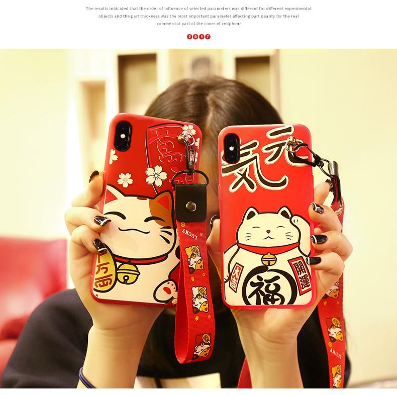 เคส iPhone X ซิลิโคนสกรีนลายนำโชคสวยงามมาก ราคาถูก (แบบสั้นหรือยาวแล้วแต่ร้านจีนแถมมา)