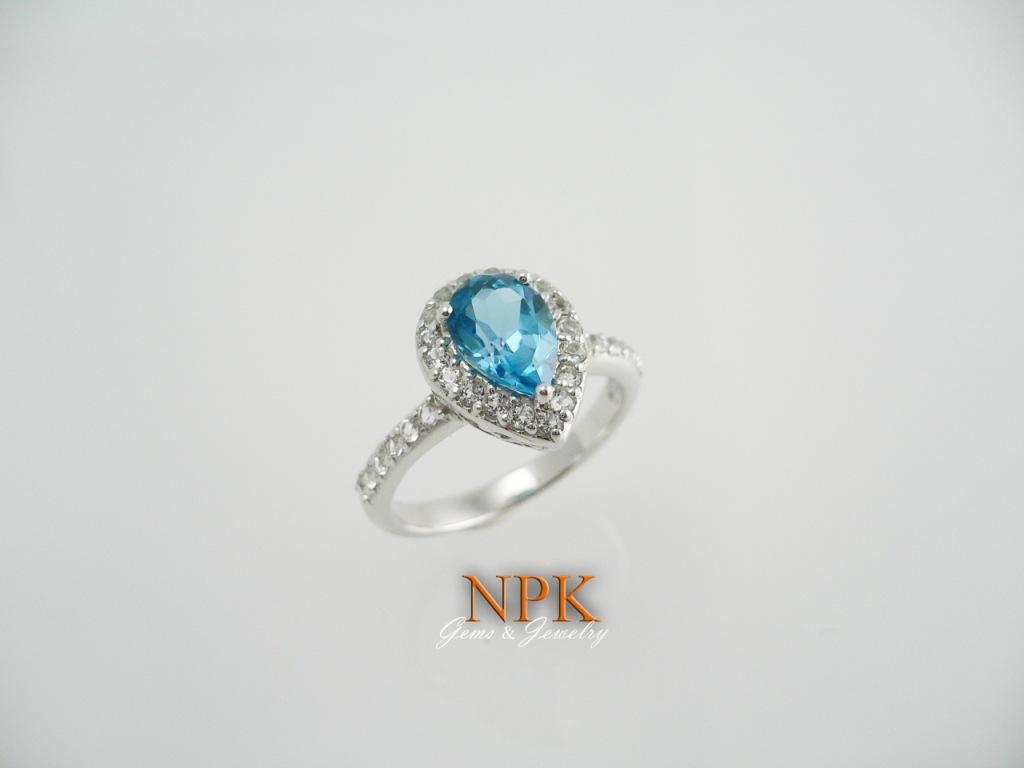 แหวนบลูโทปาซ (Blue Topaz Silver Ring)