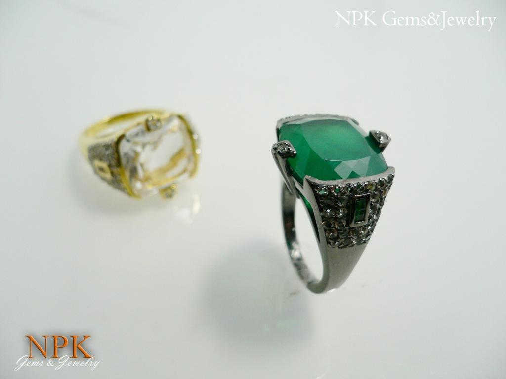 แหวนอาเกตสีเขียวหรือโมรา (Green Agate Silver Ring)