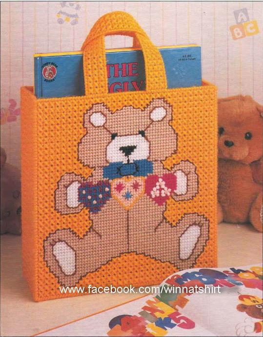 ชุดปักแผ่นเฟรมกระเป๋าลายหมีสีส้ม